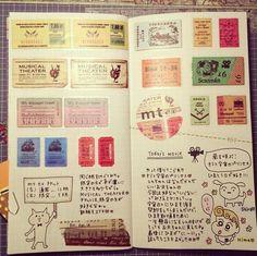 Traveler's notebook--love the little cartoon animals with speech bubbles.