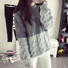 O-neck knitted pullover sweater Women patchwork color soft jumper pull femme Autumn winter 2018 warm knitting sweater – Women's Fashion Cable Knit Sweaters, Pullover Sweaters, Jumper, Girls Sweaters, Sweaters For Women, Crochet Hat For Women, Hat Crochet, Pullover Mode, Sweater Fashion