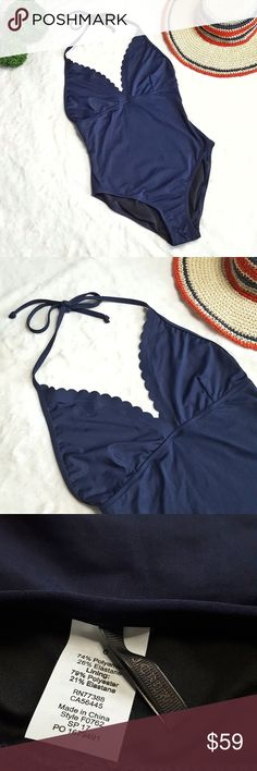 NEW J.Crew Scalloped V-neck one-piece swimsuit NWOT. This high-quality Italian matte one-piece is crafted in a soft, stretchy fabric for someone who needs a little extra coverage and stay chic. This scalloped style fits like a bikini up top, ties at the neck. Color is Navy Blue. Hygienic liner is still intact. Comes from a smoke-free and pet-free home. BUNDLE for DISCOUNTS and reasonable offers are always welcome.   (*Stock photo is only added to show fit.) J. Crew Swim One Pieces