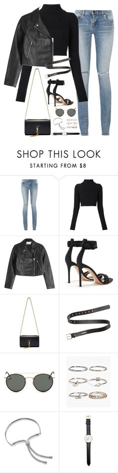 """""""Sem título #5027"""" by fashionnfacts ❤ liked on Polyvore featuring Yves Saint Laurent, Balmain, T By Alexander Wang, Gianvito Rossi, Acne Studios, Ray-Ban, Boohoo, Monica Vinader and Daniel Wellington"""