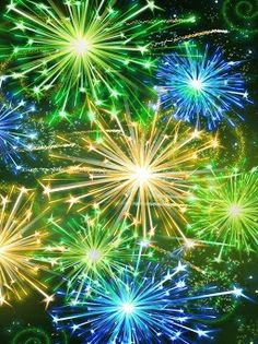 Yellow green and blue fire works