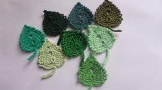 Lot de 8 feuilles réalisées au crochet vert : Autres Tricot et Crochet par aiguille-passion