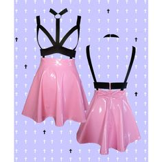 PASTEL GOTH pink harness PVC skater skirt with removable bow ($33) ❤ liked on Polyvore featuring skirts