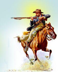 Boer horseman South Afrika, Native American Wisdom, Cowboy Art, Horse Drawings, Comic Pictures, British Colonial, Le Far West, Modern Warfare, African History