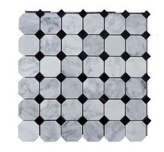 """Italian+White+Carrara+Marble+Polished+Mesh+Mounted+Tile+in+2x2+Octagon+Tile+format+With+Black+Dot+-+Italain+White+Carrara+marble+2+in.+x+2+in.+octagon+mosaic+tile+is+perfect+marble+tile+for+any+accent+wall+or+floor+covering+project.+This+white+Carrara+Marble+tile+comes+in+the+form+of+12""""+x+12""""+mesh+mounted+mosaic+sheet,+which+approximately+covers+1+sqft.+This+Carrara+Marble+mosaic+tile+has+36+chips+of+2""""+x+2""""+octagon+set+in+octagon+and+dot+format.The+surface+finish+"""