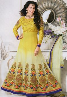 Yellow color georgette designer embroidered semi stitched anarkali suit. Crafted with work of patch work, embroidered, lace. Its top length is 48 inch. It can stitched up to size 44. Sleeve can stitched up to size 22 inch. (Slight color variation is Possible.)