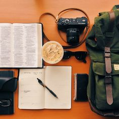 This picture basically describes my dream day...Bible, Starbucks, journal, sunglasses...