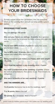 How to choose your bridesmaids: a handy point system for brides! Pin now, read later!: