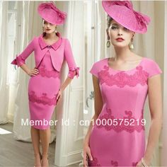 Best Selling Charming Knee-length Lace and Satin Sheath with Jacket Pink Fashion Special Occasion Mother of the Bride Dress US $133.68