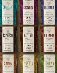 Charity Beans Coffee — The Dieline - Branding & Packaging Design Food Branding, Food Packaging Design, Packaging Design Inspiration, Branding Design, Coffee Packaging, Coffee Branding, Bottle Packaging, Coffee Labels, Coffee Pods