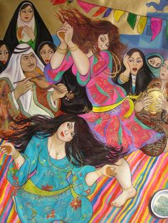 Iraqi artist Wassma Al Agha Middle Eastern Art, Arabian Art, Arab Women, Turkish Art, Dance Art, Fine Art Photography, Folk Art, Illustration Art, Illustrations