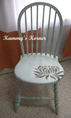 Stenciled wooden chair