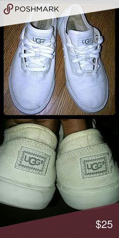 UGG Sneakers Girl's UGG Sneakers wore couple times, there is a little scuff on the toe, not really that noticeable when wearing , I've tried wiping off it did get lighter maybe after few more tries it will be gone I will keep trying , they are like ivory color , still in good condition UGG Shoes Sneakers