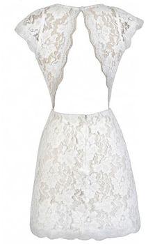 Open back, off white lace dress.  Rehearsal dinner dress.