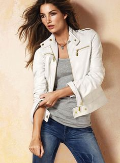 White leather jacket, light grey tank top, denim jeans. Add scarf or necklaces.