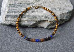 Mens Bracelet, Lapis Lazuli Bracelet, Tiger Eye Bracelet, Natural Stone, Mens Jewelry, Minimalist Bracelet, Boho Man, Unisex, Stack Bracelet by BraidedSouls on Etsy https://www.etsy.com/listing/487282607/mens-bracelet-lapis-lazuli-bracelet