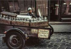 1974. Szikvízes az Akácfa utcában. Sidecar, Hungary, Budapest, Old Photos, Monster Trucks, Flag, Train, History, Beautiful