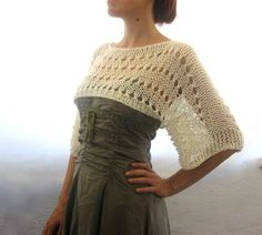 Cotton Summer Cropped Sweater Shrug hand knitted por Rumina