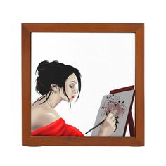 One of my favorite images is Lady in Red Painting here used for a Desk Organizer from my Zazzle Shop