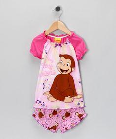 Pink Curious George Pajama Set - Toddler & Girls
