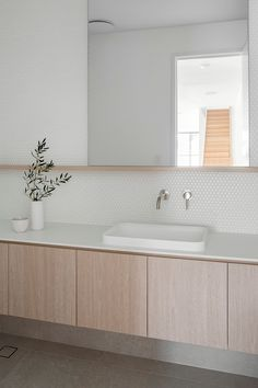 Lake House Bathroom, Laundry In Bathroom, Bathroom Basin, Bathroom Renos, Inset Basin, Backlit Mirror, Coastal Bathrooms, Classic Interior, Contemporary Bathrooms
