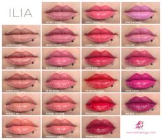 ILIA Beauty all colours shown on lips