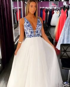 784822ab1fb Elegant A-line White Tulle Long Prom Dress with Blue Floral Embroidery  White Prom Dresses