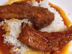 One of my family's favorite ways for me to cook pork ribs (other than Chamorro BBQ) is to braise it in a thick and sweet tomato sauce. My mom used to make this for us growing up, only she used toma...