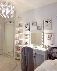 We love homebytulay s beauty room set up using the MALM dressing table, LACK wall shelf unit, NISSEDAL mirror with LEDSJ LED wall lamp Bedroom Decor For Teen Girls, Teen Room Decor, Bedroom Small, Trendy Bedroom, Room Design Bedroom, Room Ideas Bedroom, Teen Bedroom Designs, Diy Bedroom, Ikea Lack Shelves