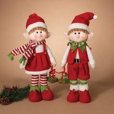Gerson 23 in. Plush Elf Shelf Sitters - Set of 2 - Place this Gerson 23 in. Plush Elf Shelf Sitters - Set of 2 around your home to be Santa's eyes and ears this holiday season. Christmas Elf Doll, Christmas Art, Handmade Christmas, Felt Christmas Decorations, Felt Christmas Ornaments, Diy Ornaments, Beaded Ornaments, Glass Ornaments, Christmas Knitting Patterns