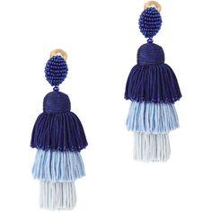 Tiered Tassel Silk Earrings ($450) ❤ liked on Polyvore featuring jewelry, earrings, blue, oscar de la renta earrings, blue jewellery, beaded jewelry, oscar de la renta jewelry and fringe tassel earrings