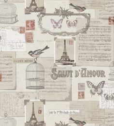 Papel pintado vintage con sellos postales - 40973