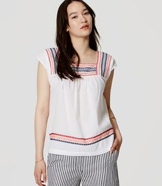 Image of Petite Embroidered Square Neck Top