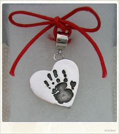 Small Heart Handprint Charm on a carrier bead - Compatible with Pandora bracelets