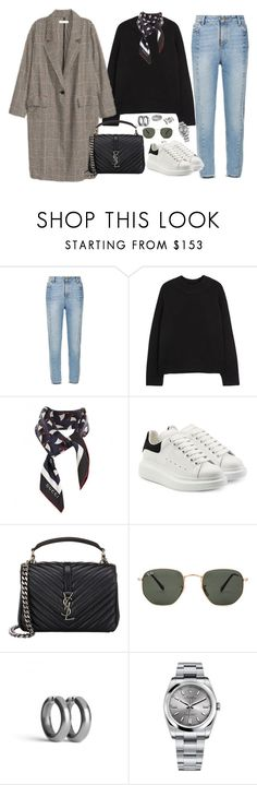 """Untitled #1813"" by mmooa ❤ liked on Polyvore featuring Sandro, The Row, Gucci, Alexander McQueen, Yves Saint Laurent, Ray-Ban, Rolex and Tessa Metcalfe"