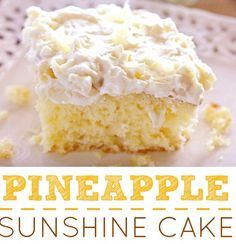 1 box yellow cake mix 4 eggs ½ cup oil (I used vegetable oil) 1 (8 oz) can crushed pineapple with juice  Frosting: 1 (8 oz) container whipped topping, thawed 1 small box instant vanilla pudding 1 (8 oz) can crushed pineapple with juice