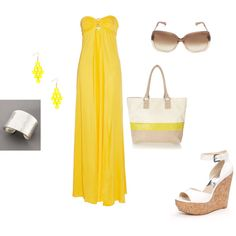 yellow and white summer date outfit