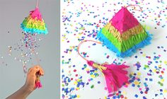 How to make a mini rainbow piñata out of colored crepe paper. Our video tutorial is only 2 mins long. Visit Happythought to download the free Piñata template and see the video. #pinata #craft #papercrafts https://happythought.co.uk/craft/tutorials/how-to-make-a-pinata