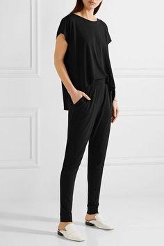 Black stretch-crepe Slips on 96% polyester, 4% elastane; trim: 85% polyamide, 15% polyurethane Machine wash Imported