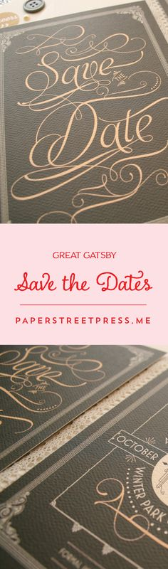 Straight from the era of gangsters, oil wick cooking stoves, jazz music, and flapper girls, these wedding save the dates are the Cat's pajamas. $.95+ from Paper Street Press #greatgatsby #1920s #savethedates
