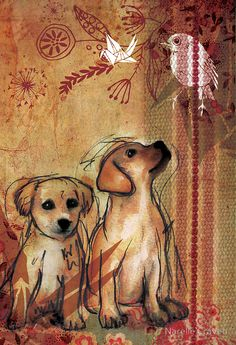 Two Puppies- Mixed Media by Narelle Craven  Media: Found objects, Watercolour, pencil, sharpie, wacom board, photoshop, illustrator. Collage Art Mixed Media, Mixed Media Canvas, Puppy Mix, Dog Mixes, Mixed Media Techniques, Paintings I Love, Art Journal Inspiration, Dog Art, Medium Art