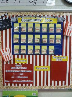 Second Grade Fun: Hollywood theme Classroom Set-up Classroom Jobs, Classroom Setting, Classroom Setup, Future Classroom, Classroom Organization, Classroom Management, Movie Classroom, Hollywood Theme Classroom, Community Jobs