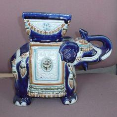 """Large elephant planter porcelain blue white Asian 8 1/2"""" tall vintage antique"""