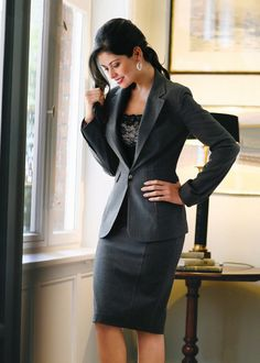 skirt suit with lace cami