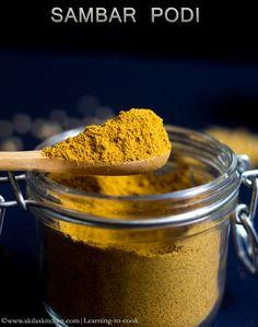 Easy Homemade Sambar powder - a basic masala powder to prepare any south Indian sambar. Learn To Cook, How To Make, Coriander Powder, Masala Recipe, Spice Mixes, Bbq Grill, Gravy, Pickles, Peanut Butter