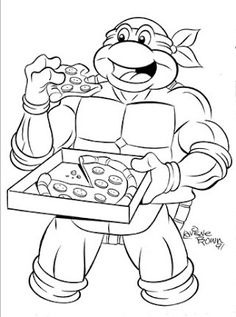 teenage mutant ninja turtles turtle eating pizza coloring page - Pizza Coloring Pages