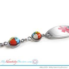 Pre-Engraved /& Customized Leukemia ID Bracelet My Identity Doctor Black Red Millefiori Glass