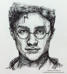 Harry Potter (ink) by LiubovKorotkova. on Harry Potter (ink) by LiubovKorotkova. Harry Potter Sketch, Arte Do Harry Potter, Harry Potter Face, Harry Potter Artwork, Images Harry Potter, Harry Potter Drawings, Portrait Sketches, Art Drawings Sketches Simple, Pencil Art Drawings