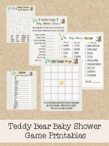 FREE Teddy Bear Baby Shower Printable Games