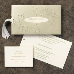 100 INVITATION WEDDING SIMPLE BUT ELEGANT OLIVE BRANCH EMBOSSED ENVELOPE SLEEVE | eBay